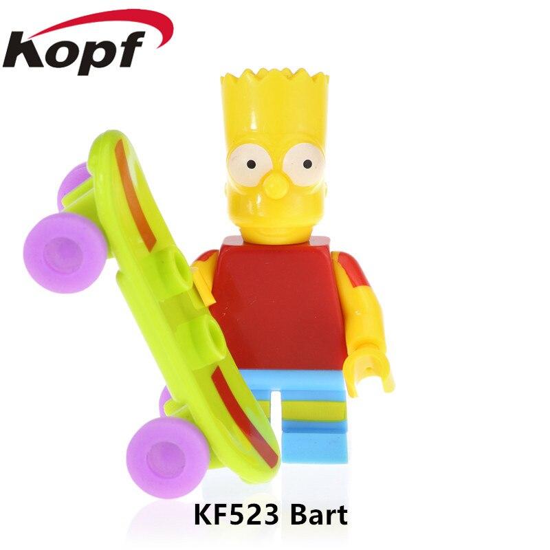 KF523 Single Sale Marge Figures Bart Simpson Series Bricks Milhouse Homer Model Nelson Building Blocks For Children Gift Toy