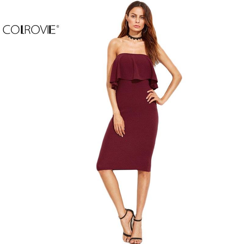 COLROVIE Woman Party Dresses Elegant Evening Autumn Dresses for Woman Burgundy Ruffle Bandeau Pencil Knee Length Dress
