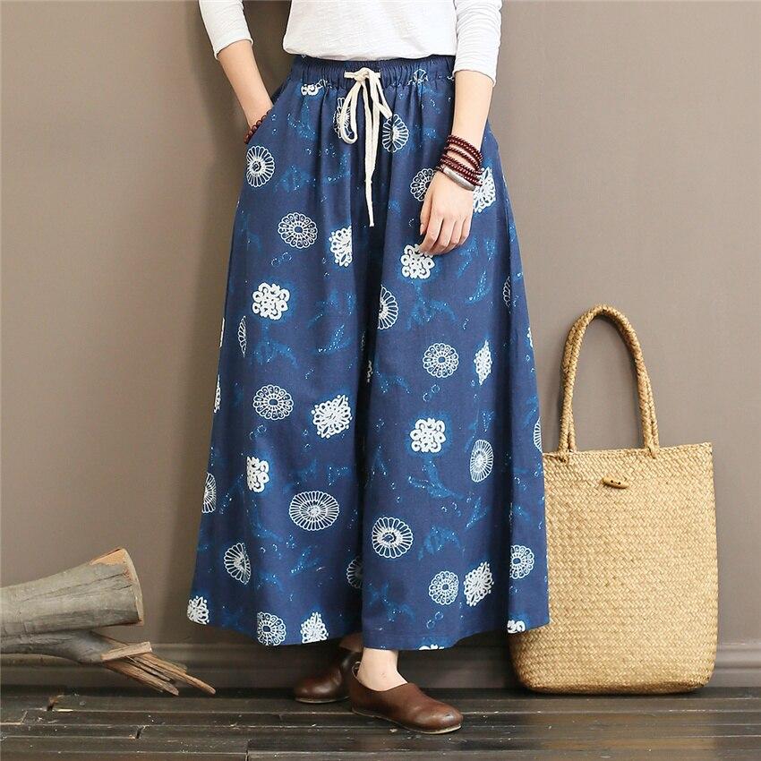 Johnature Women Print Floral   Wide     Leg     Pants   Cotton Vintage Trouser 2018 Autumn New Pockets Loose Soft Women Full-Length   Pants