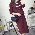 2016 New Arrival Women's Autumn Clothes Knitting Geometric Pullover Top And Elastic Skirt Set Female Casual Suits 2 Colors In