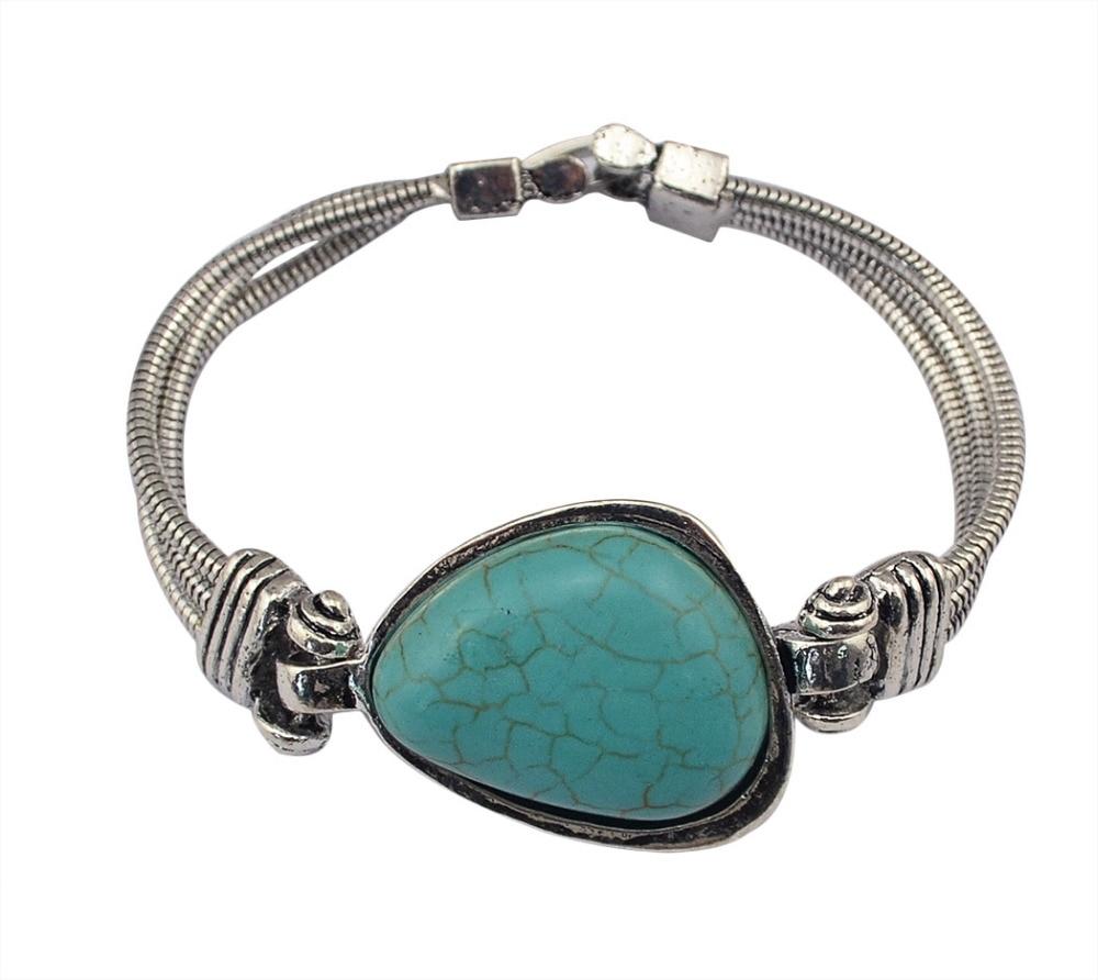 84828b6295b2 Vintage Bohême Tibétain Ethnique Argent Métal Bracelets   Bangles Vert  Pierre Grosse Perle Bracelet Femmes Hommes Bijoux Accessoires 2018