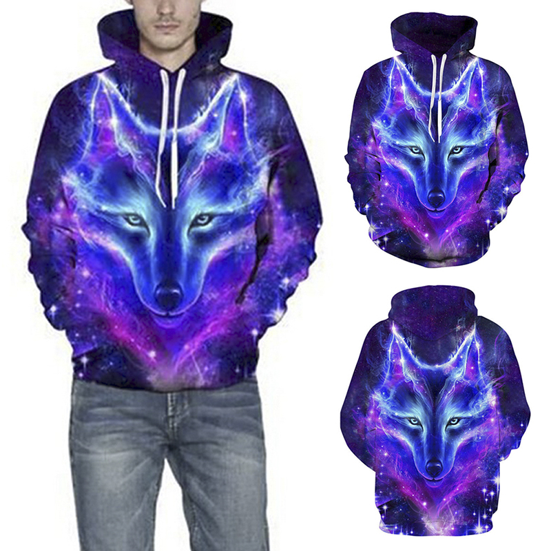 Space Galaxy Wolf Hoodies Men 2019 New Fashion Spring Autumn Pullover Sweatshirts 3D Tracksuit Hooded Sweatshirt