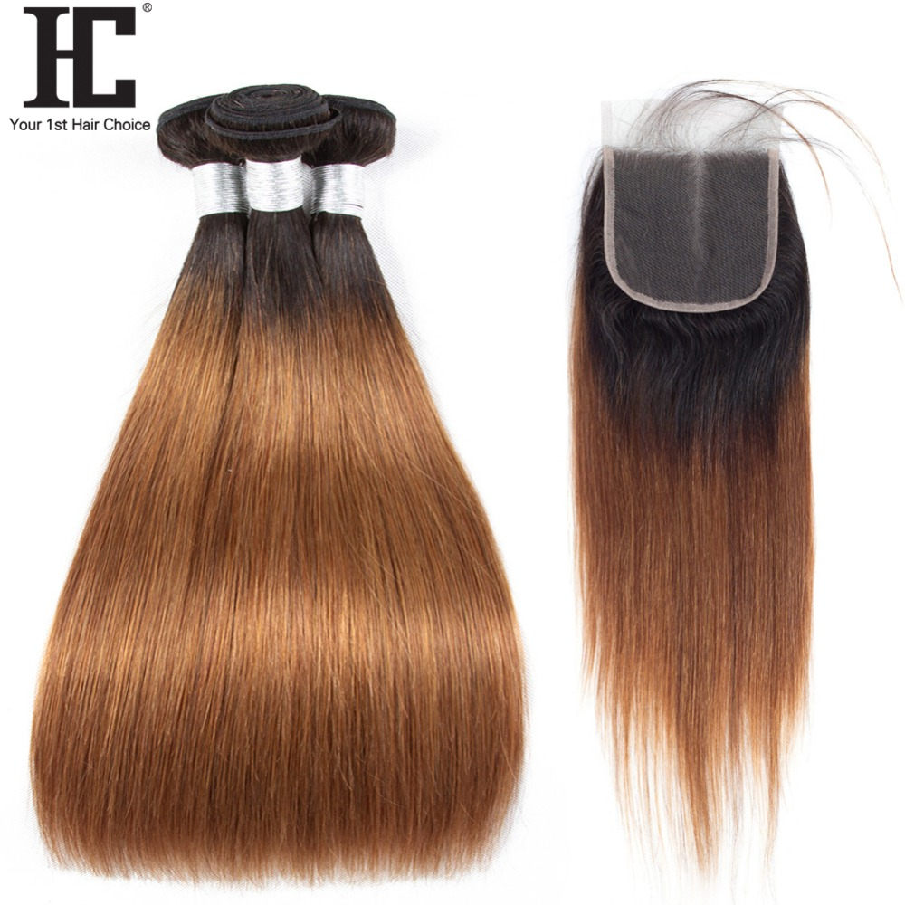 HC Ombre Bundles With Closure 1B/30 Two Tone Ombre Human Hair Weave Brazilian Straight 3 Bundles With Lace Closure Non Remy