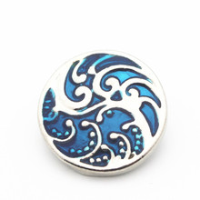 Hot selling 20/lot sea wave Snap Buttons 18mm/20mm Jewelry fit Bracelet Bangle Necklaces
