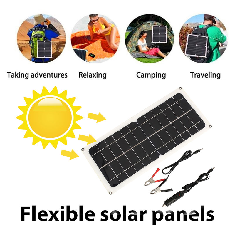 Portable 12V 10W USB+DC port+car charger solar panel Emergency Power Supply outdoor camping travel smartphone fast charger