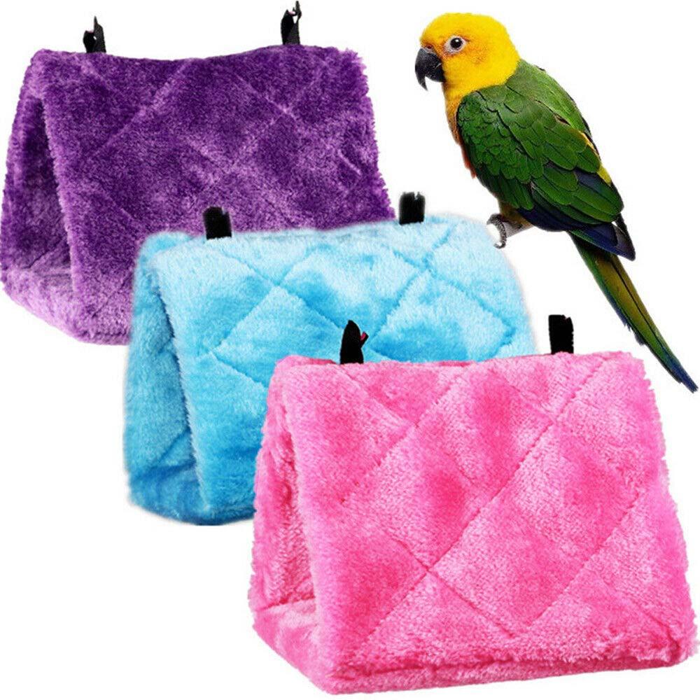Bird Parrot Hammock Hanging Cave Cage Practical Plush Snuggle Hut Tent Bed Bunk Autumn Winter Warm Fur Hammock 3