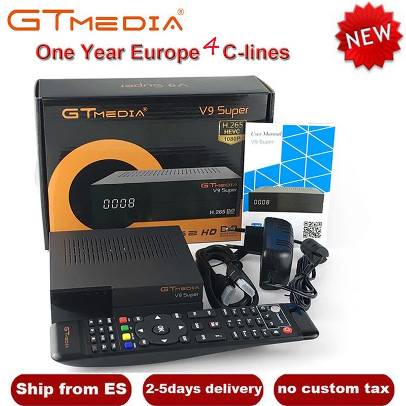 все цены на GTMedia V9 Super HD DVB-S2 Satellite Receiver Upgrade From V8 NOVA Support H.265 HEVC Built-in WiFi+1 Year Europe Spain 4 Clines онлайн