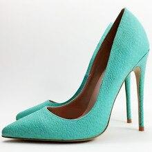 Keshangjia Top chất lượng Phụ Nữ Bơm Chân Nhọn Gót Mỏng Bơm Đẹp Giày Da Láng Phụ Nữ Cộng Với MỸ Kích 34 44