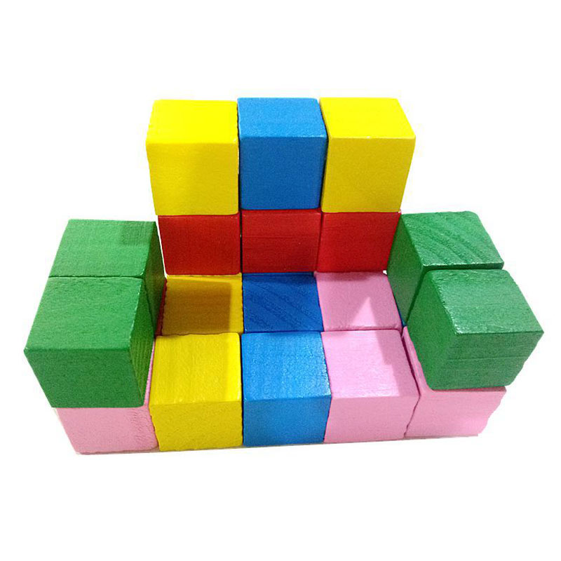 Image 5 - Hot Selling 2cm 20pcs Children Kids Wooden Building Blocks Square Math Teaching Tool Toy Colorful 775-in Blocks from Toys & Hobbies