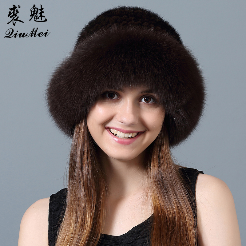QiuMei Mink Fur Hat Caps Russian Winter With Fox Fur Edge for Female Women Hat Knitted Natural Mink Fur Beanie Hats New 2017
