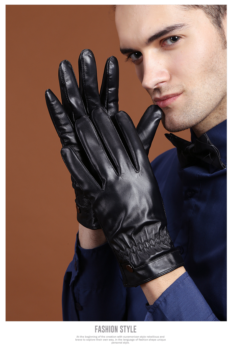 Skin tight leather driving gloves - 100 Sheep Skin Gloves Men Pure Genuine Leather Gloves For Winter Classic Men 39