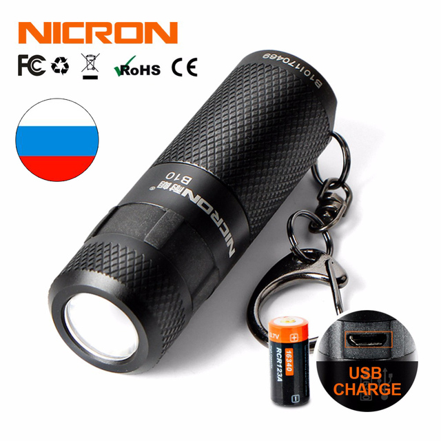 NICRON 3W USB Mini LED Light Waterproof Flashlight Keychain Rechargeable Compact Lamp Torch 3 Modes For Household Outdoor etc