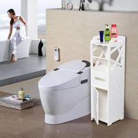 3 Tier Bathroom Storage Cabinet PVC Toilet Furniture Shelf with 2 Doors E5M1