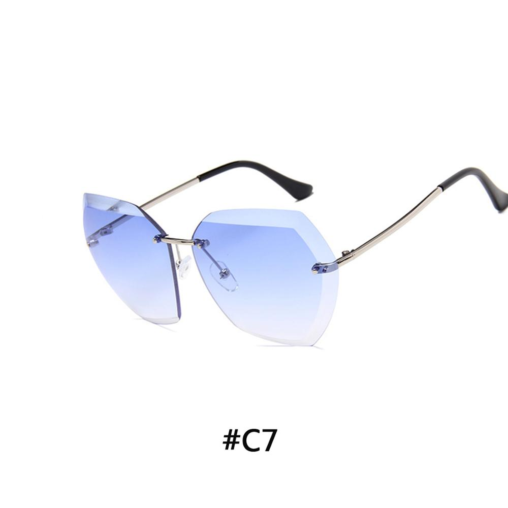 5ad68f3dfc Dropwow 2018 Luxury Vintage Rimless sunglasses women Brand Designer ...