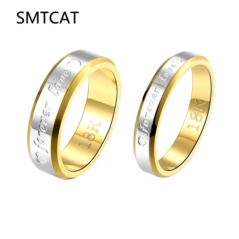 SMTCAT Engraving Name Anniversary Rings for Women & Men Gold-color Jewelry Silver Forever Love Letter Wedding Couple Ring Sale