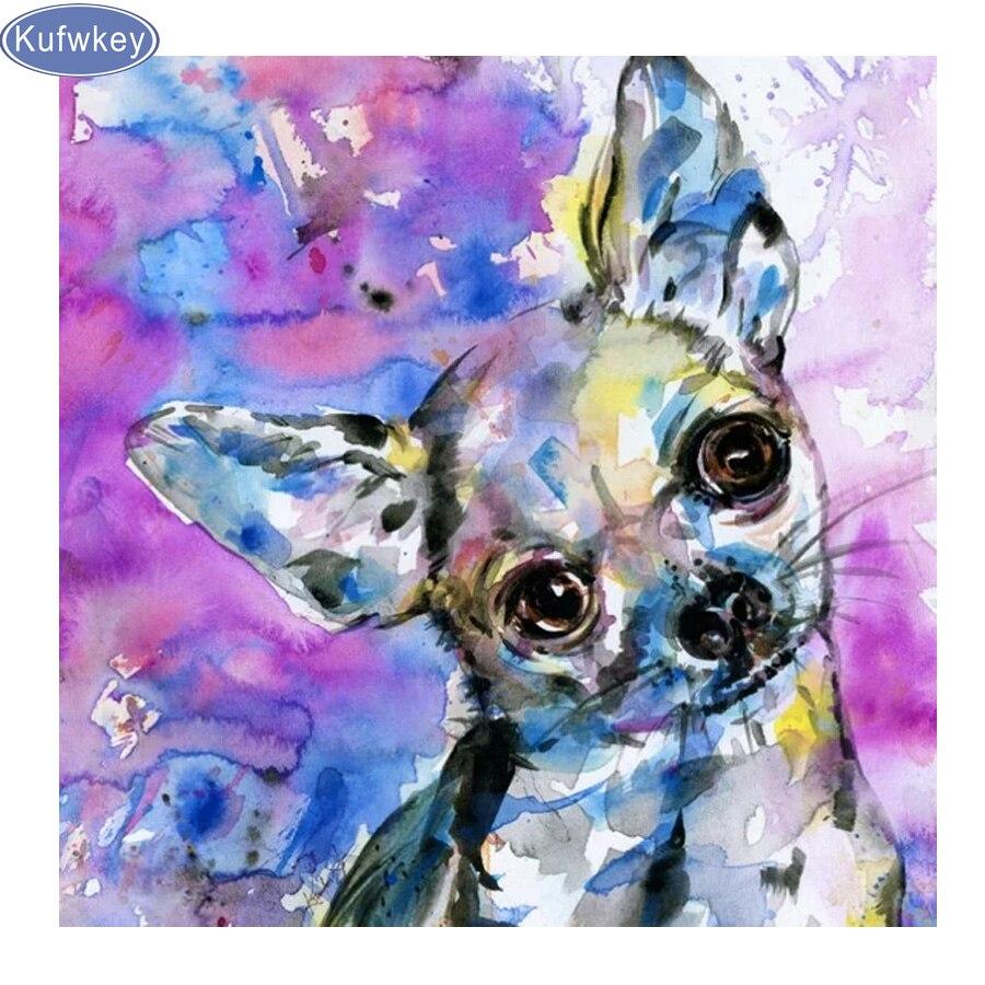 Diy 5d diamante pintura chihuahua mascota perro mozaik rompecabezas diamante cuadrado completo diamante bordado cruz puntada pegatina