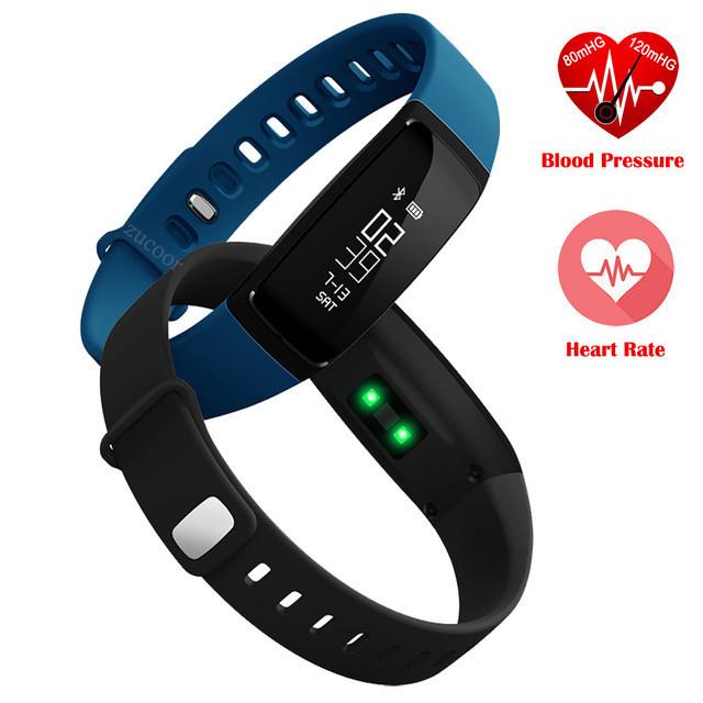 V07 Inteligente Muñequera Banda de Frecuencia Cardiaca de Presión Arterial pedomet Pulseras Pulsera SmartBand Gimnasio Rastreador SMS Para iOS Android