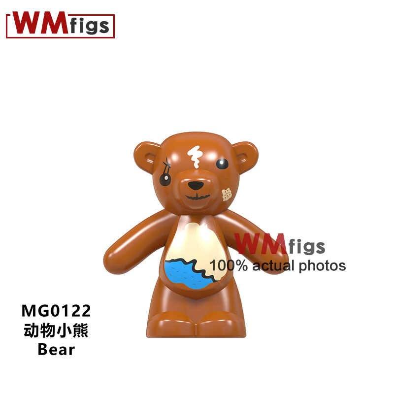 Único Urso Legoings Pet Animais Super Heróis Figuras de Urso Panda Flash Batman Superman Mulher Maravilha Brinquedos de Blocos de Construção do Modelo