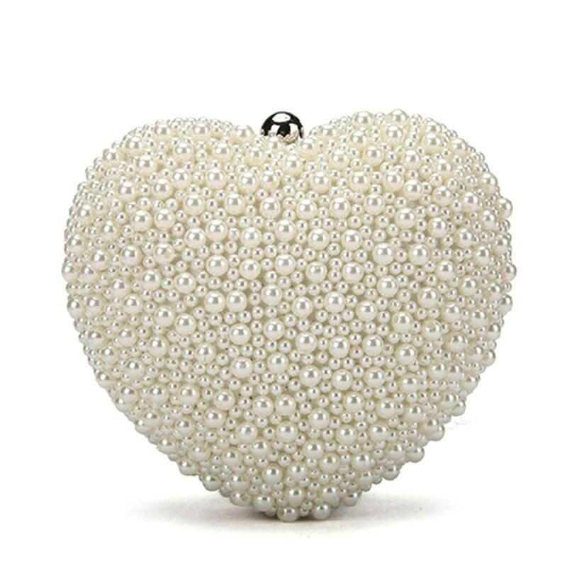 Forma de corazón Damas Cadena Bolsa de Embrague Bolso de La Manera de La Perla D
