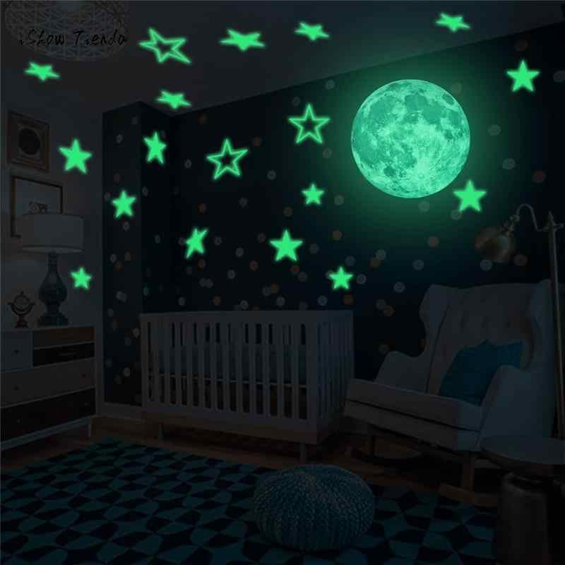 זוהר בחושך קיר תקרת ירח כוכבים מדבקות קיר מדבקות לילה קיד בית תפאורה כוכבים הכהה מדבקות muraux