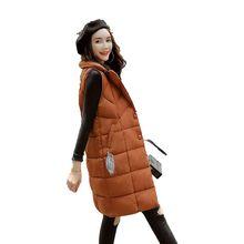 Br 2018 women vest Winter jacket Thicken Warm Long Casual Cotton Padded Waistcoat female Sleeveless waistcoat Jacket winter
