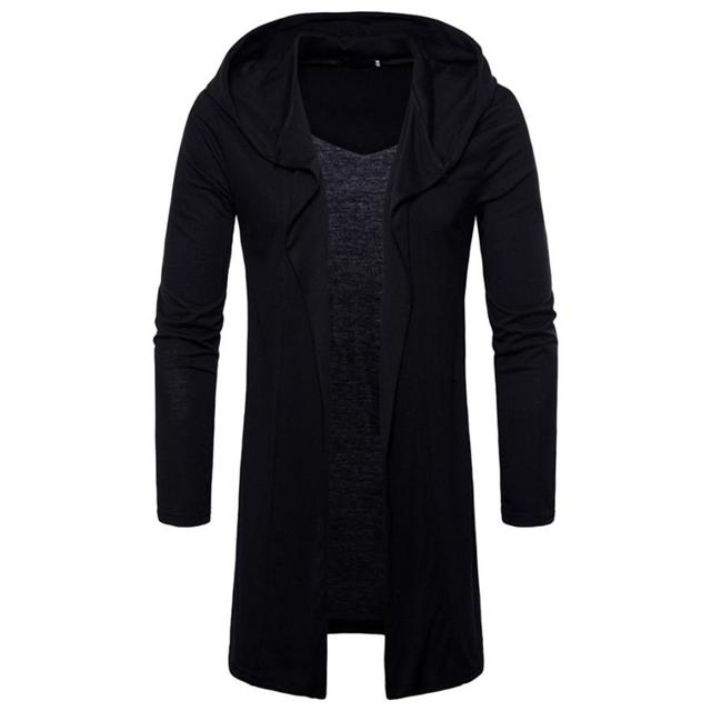 2018 NEW arriver men Fashion Mens Hooded Solid Trench Coat Jacket Cardigan Long Sleeve Outwear Blouse