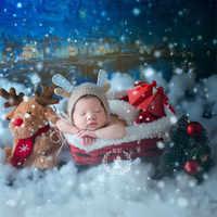 Nuovo Appena Nato Fotografia Oggetti Di Scena Di Natale per Servizi Fotografici Fatti A Mano Di Natale Slitta Appena Nato In Posa Divano In Legno Tessuto Cesto Oggetti di Scena