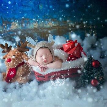 New Newborn Photography Christmas Props for Photo Shoots Handmade Christmas Sleigh Newborn Posing Sofa Wood Woven Basket Props