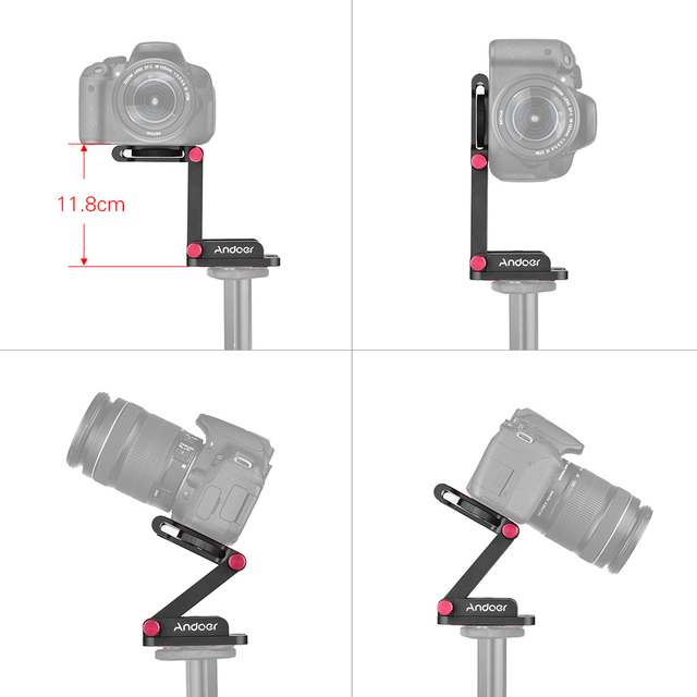 Andoer Aluminum Alloy Z Flex Tilt Tripod Head Folding Quick Release Plate Camera Ball Head for Canon Nikon Sony DSLR Stabilizer