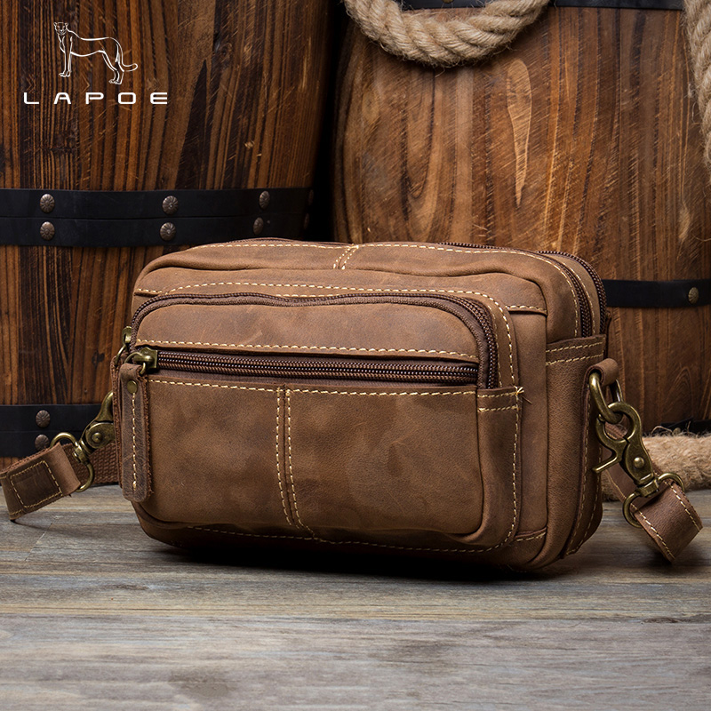 DWOY genuine leather bag men vintage crazy horse mens bag heuptas heren leren waist packs for men fanny pack leather pocheteDWOY genuine leather bag men vintage crazy horse mens bag heuptas heren leren waist packs for men fanny pack leather pochete