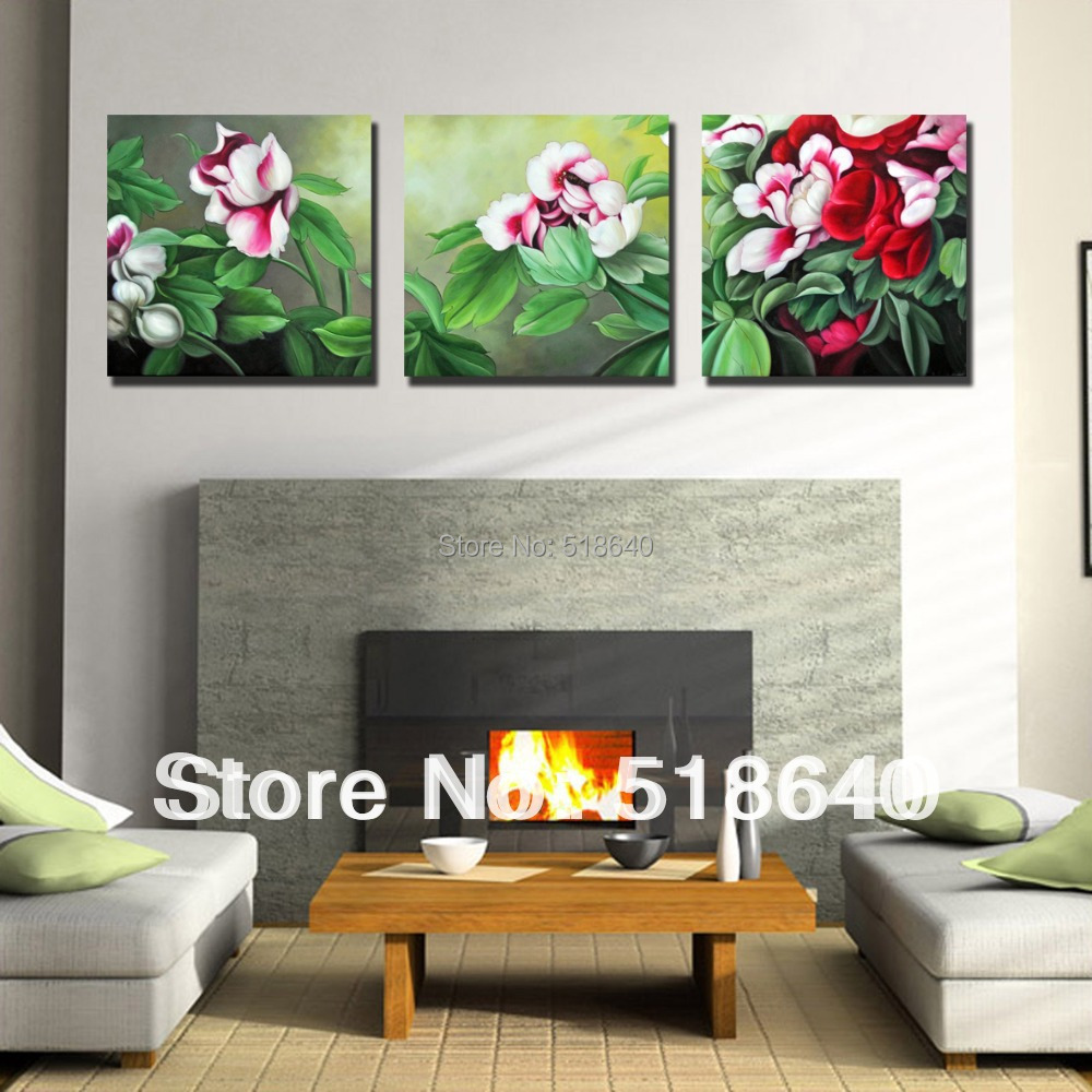 3 piece large landscape abstract flowers wall hanging - Landscape paintings for living room ...