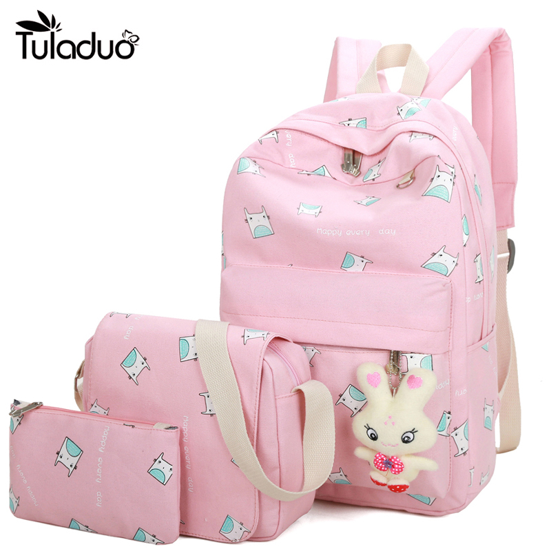 2017 New Fashion Women Canvas Backpack Schoolbags School For Girl Teenagers Casual Travel Bags Rucksack Cute Printing Children цены онлайн