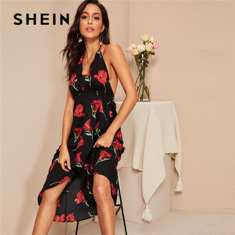 SHEIN черная упаковка асимметрическое разделение по подолу спинки узел Холтер Бохо Цветочные Летние платья женские сексуальные V шеи Высокая ...