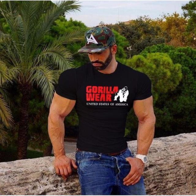 Summer Men's T-shirt animal cartoon printed Hip Hop Fitness Men Shirt Bodybuilding Tee Short Sleeve Muscle Tops Stylish