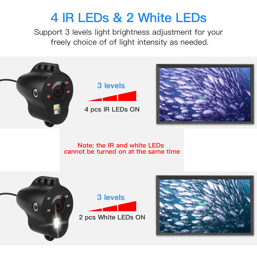 """Image 4 - Eyoyo EF15R Original 15M 1000TVL Underwater Ice Fishing Camera 5"""" LCD Monitor 4pcs Infrared+2pcs White Leds Night Vision Camera-in Fish Finders from Sports & Entertainment"""