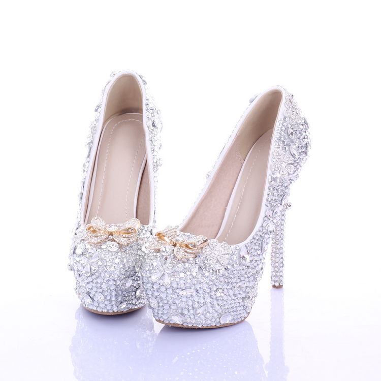 Crystal shoes wedding shoes round toe shallow mouth rhinestone bridal shoes ultra high heels platform formal