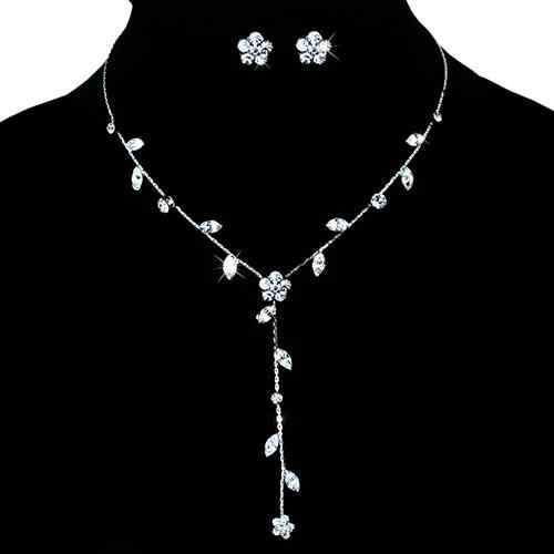 Women Fashion Silver Color Jewelry Sets Shiny Rhinestone Flower Necklace & Dangle Earrings Jewelry Set for Women