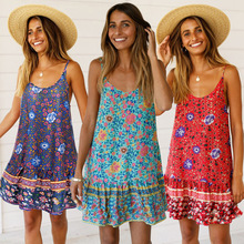 ARiby 2019 Summer New Women's Dress Sexy Chiffon Sling Lotus Leaf Edge Printed Casual A-Line Sleeveless Mini O-Neck Dress