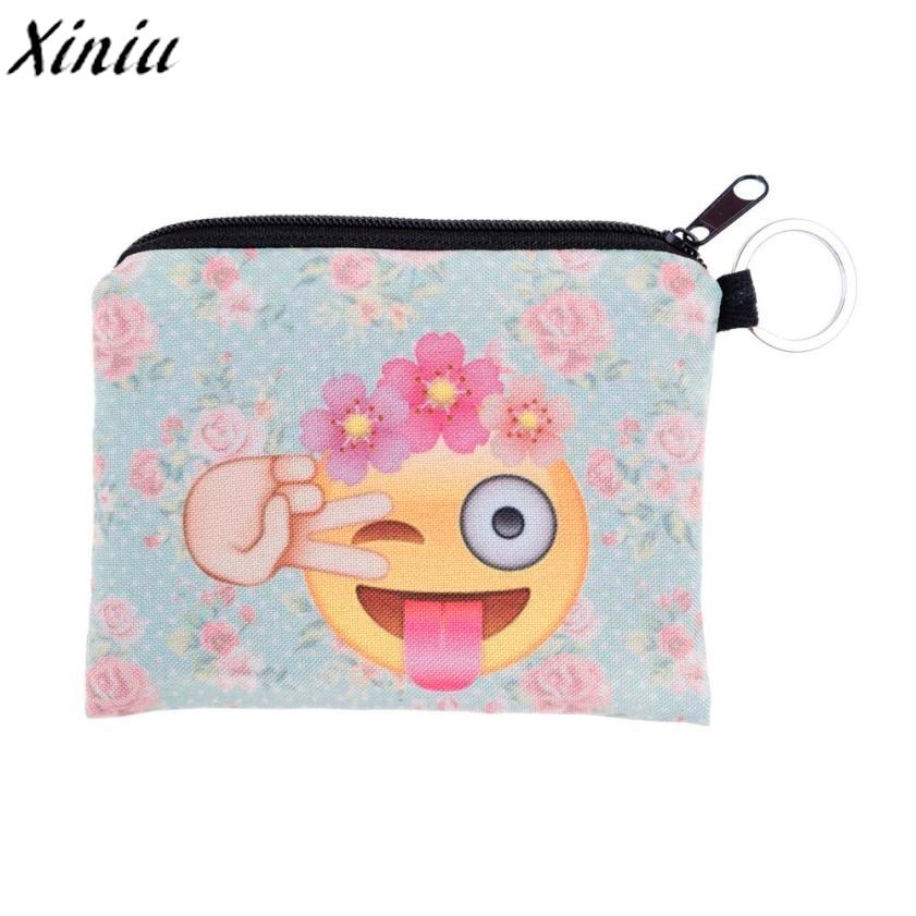 Girl Coins Purse Printing Zipper Change Clutch Wallet Bag Cute Emoji Key Bags Monedero Para Monedas #7111