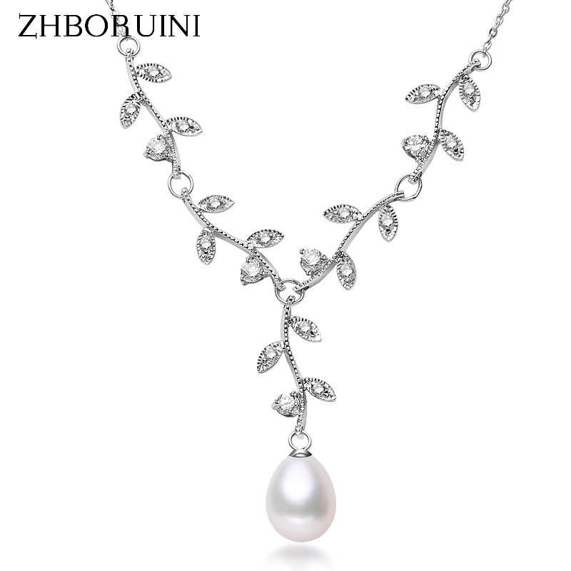 ZHBORUINI 2019 Pearl Necklace Natural Freshwater Pearl Choker Necklace Leaf Pendant 925 Sterling Silver Jewelry For Women Gift