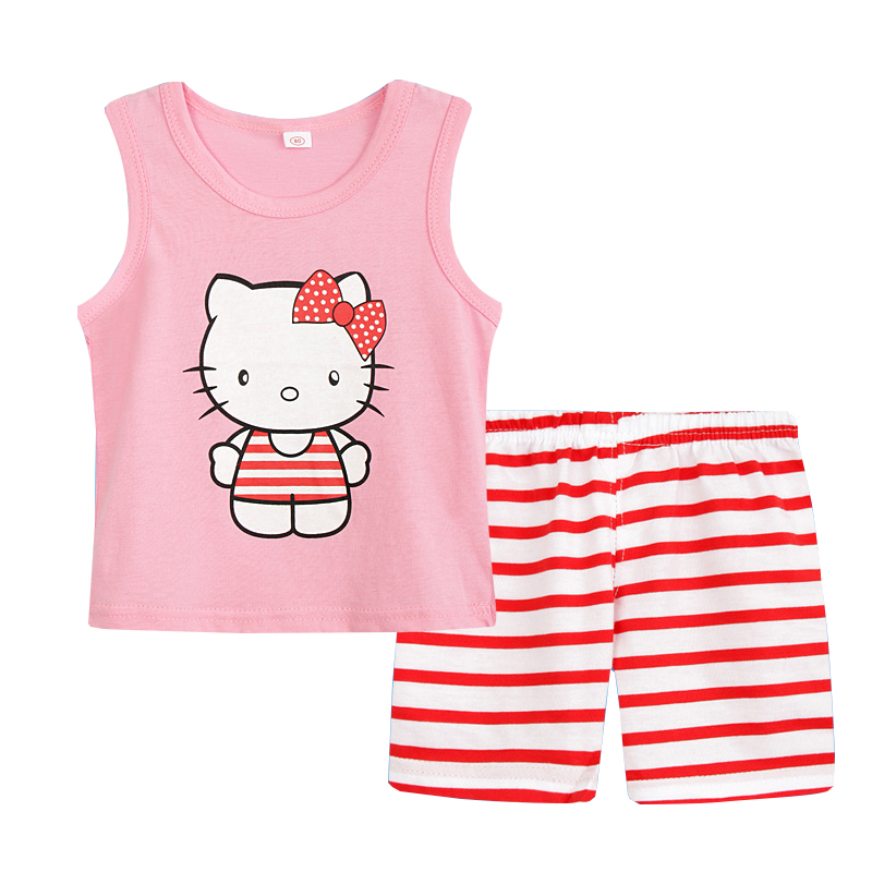 Summer Children Boy Clothes Cute Cartoon 2PCS Kids Baby Girls Floral Vest Top Shorts Pants Set Clothes Girls Clothing Sets