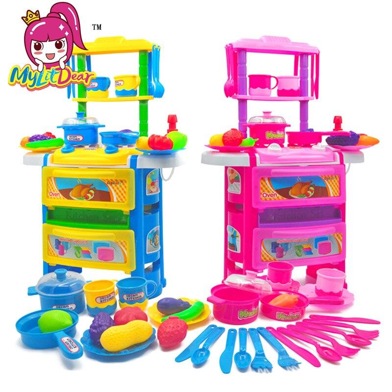 Dynamisch Mylitdear Kid's Keuken Speelgoed Kinderen Voedsel Fantasiespel Keuken Koken Set Met Licht Geluid Miniatuur Voedsel Groenten Pot Pannen Met Een Langdurige Reputatie
