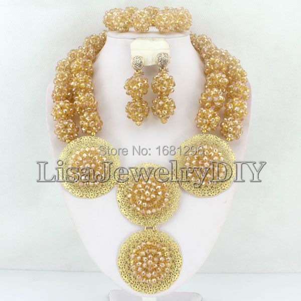 Fashion Crystal Ball Costume Jewellery Nigerian Wedding African Beads Jewelry Set HD0896