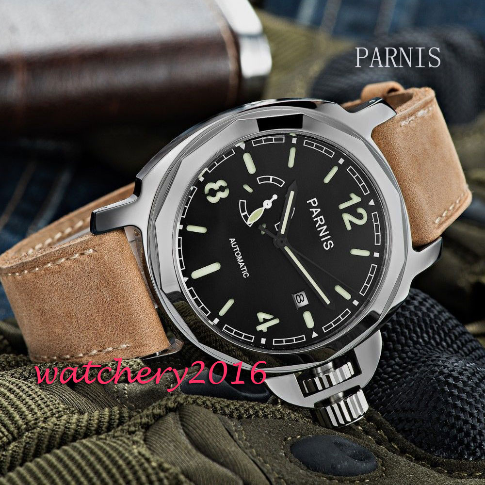 New 44mm Parnis Black Dial sapphire glass mens watches top brand luxury date adjust miyota Automatic Movement Mens Watch 42mm parnis withe dial sapphire glass miyota 9100 automatic mens watch 666b