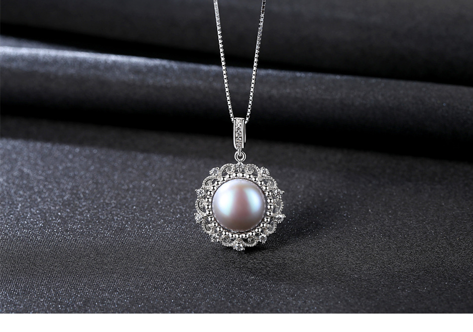New S925 sterling silver pearl necklace micro set 3A zirconium wild female clavicle necklace Y02
