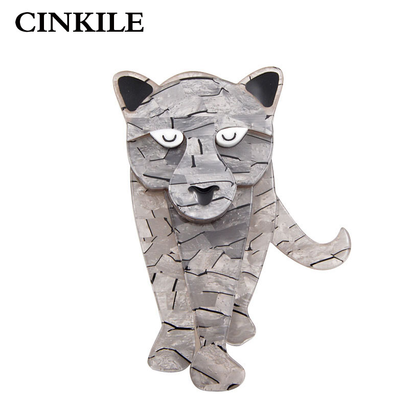 CINKILE Acrylic Tiger Leopard Lion Brooches for Women Fashion Acetate Fiber Brooch Pin Cute Animal Broches New 2018 Gift