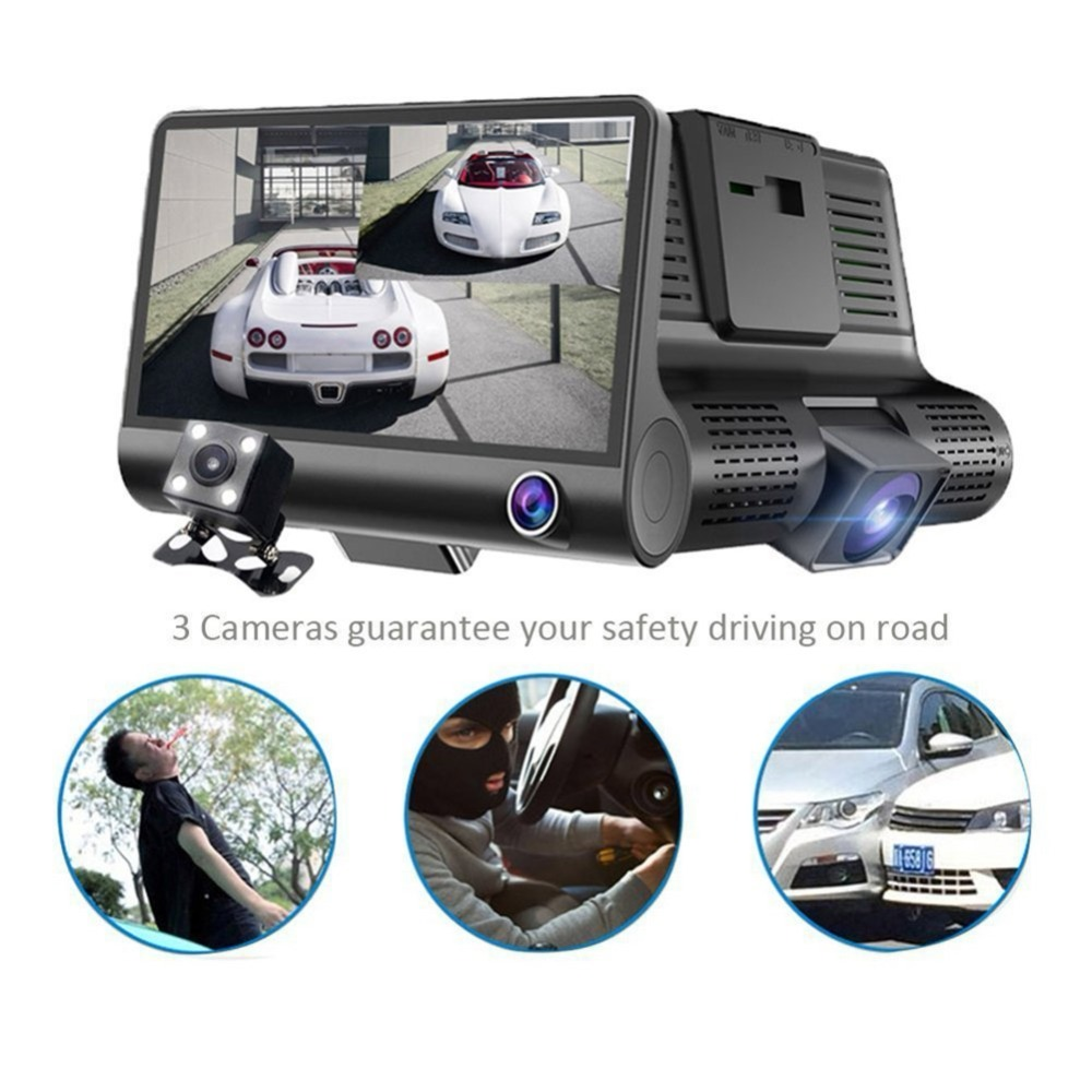 4 1080P Three Lens Car DVR Dash Cam Camera Camcorder Logger Night Vision / G-sensor / Motion Detection / Loop Recording 9449