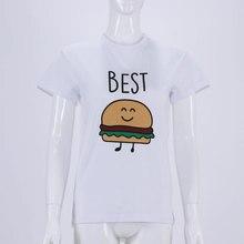 Best Friends Funny Burger Printed Matching Women's T-Shirt