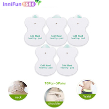 10pcs/lot Gold Hand Electrode Pads For Tens Acupuncture Digital Therapy Machine JR-309 Slimming Electric Body Massager