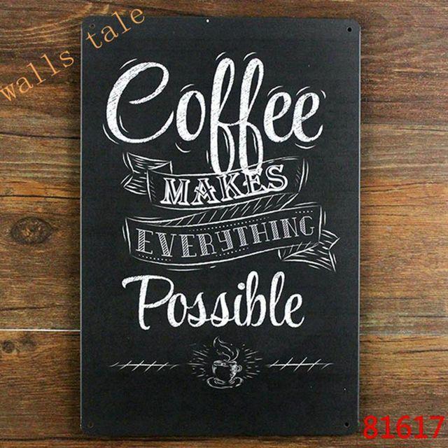 Metal de la vendimia de café pintado arte de la pared decoración de café hace todo lo posible, tamaño 20x30 cm